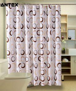 GIANTEX Circle Pattern Polyester Bathroom Waterproof Shower Curtains With Plastic Hooks U1089