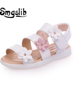 Girls shoes sandals kids leather shoes children floral calceus big flower baby Girls Flat pricness beach Shoes kids Casual shoes