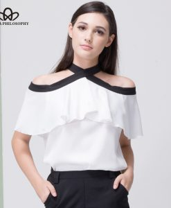 Bella Philosophy 2018 women summer silky chiffon off shoulder bow tie back open ruffles shirt blouse short sleeve