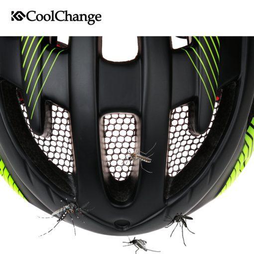 CoolChange Cycling Helmet With Light Windproof Glasses Bike Helmet MTB Insect Net Integrally Molded Men Women Bicycle Helmet 4