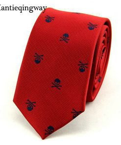Mantieqingway Neck Ties for Men 6cm SKinny Polyester Silk Neckties Skull Print Business Neckwear Corbatas Wedding Suits Gravatas 1