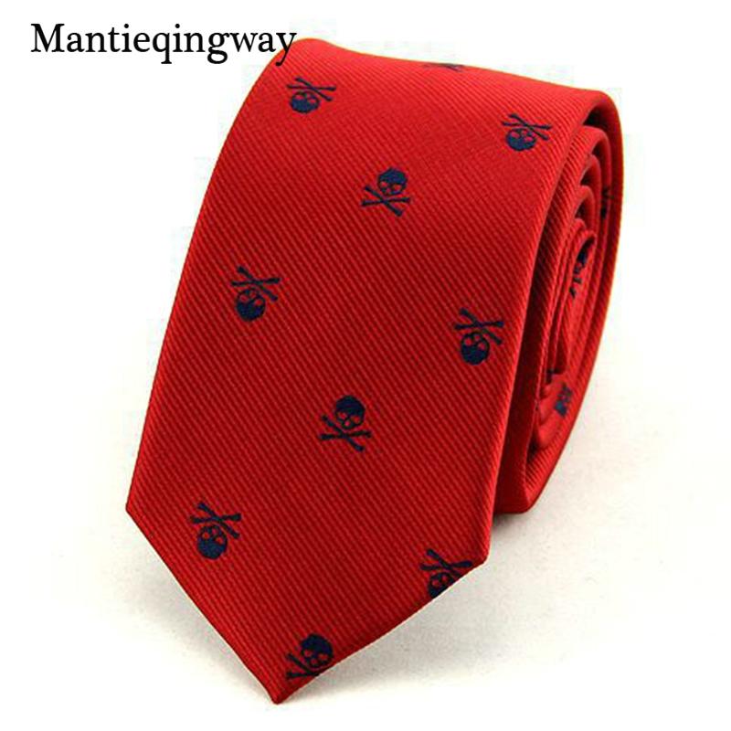 Mantieqingway Neck Ties for Men 6cm SKinny Polyester Silk Neckties Skull Print Business Neckwear Corbatas Wedding Suits Gravatas 1