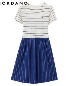 Giordano Women Summer Dress Women Slub Cotton Embroidery Summer Dress Stripe Dress Color Blocking Casual Dress Vestidos 1
