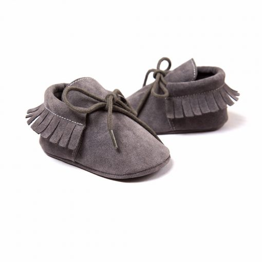 Baby Boy Girl Baby Moccasins Soft Moccs Shoes Bebe Fringe Soft Soled Non-slip Footwear Crib Shoes New PU Suede Leather Newborn 4