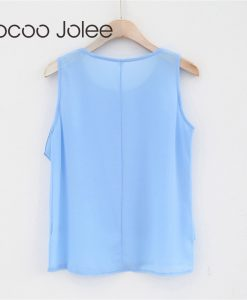 Jocoo Jolee Casual Chiffon Women Tank Tops Solid Color  Office Lady Wearings with Front Fashion Ruffles Design 2018 Spring New 1