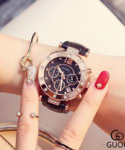 GUOU Watch Luxury Ladies Watch Fashion Quartz Watch Women Rhinestone Leather Casual Women's Watch Rose Gold relogio feminino 1
