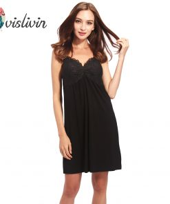 Vislivin Summer Sleeveless Sleepwear New Arrival Low Price Modal Material Spaghetti Strap V-Neck Pad Bra Homewear Dress