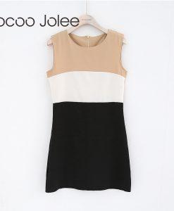 Jocoo Jolee Casual Patchwork Women Dress O-Neck High Waist Dress for Office Lady Back Zipper Design Knee-Length Dress 2018 New