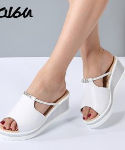 O16U Women Slipper Sandals Heels Wedges Platform Leather Peep toe Crystal Elegant Female Sandals Ladies Mules clogs Summer Shoes
