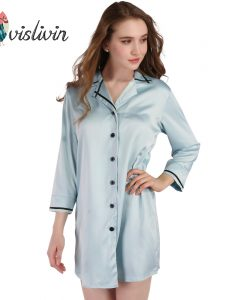 Vislivin Women Long Sleeve Nightdress Silk Sleepdress High Quality Button New Shirt Female Casual Homewear Colorful Sleepwear 1