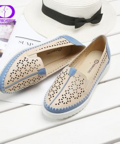 High Quality Flats Casual Slip On Loafers Women Shoes Leather Comfortable Soft Bottom Flat Shoes Vintage Style Women Footwear 1