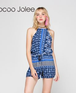 Jocoo Jolee Sexy Geometric Print Jumpsuit Women Tassel Romper Backless Overalls Causal Hollow Out Summer Beach Playsuit 1