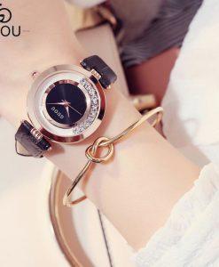 GUOU Watch Luxury Glitter Diamond Rhinestone Watch Women Watches Women's Fashion Exquisite Leather Clock saat relogio feminino  1