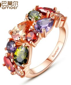 BAMOER Unique Design Rose Gold Color Mona Lisa Ring for Female Wedding with AAA Colorful Cubic Zircon Bijouterie JIR052