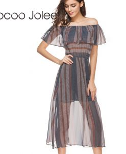 Jocoo Jolee Casual off Shoulder Long Dress for Lady Office Style the Clairvoyance with Ruffles Shawl Design Party Dress 2018  1