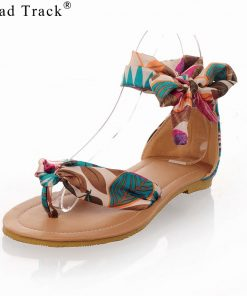 Road Track Large Size Women's Shoes Summer Bohemian Ribbon Sandals Vacation Dating Girls Ribbons Beautiful Sandals XWA1061-5