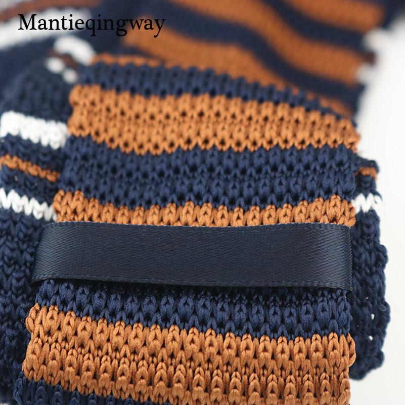 Mantieqingway Men's Suits Knit Tie Plain Necktie For Wedding Party Tuxedo Striped Woven Skinny Gravatas Cravats Accessories 1