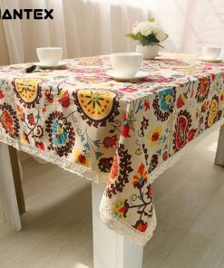 GIANTEX Bohemian National Wind Decorative Table Cloth Cotton Linen Lace Tablecloth Dining Table Cover Kitchen Home Decor U0997