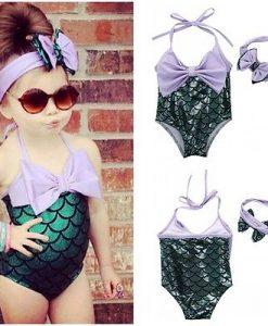 NEW Ariel 2-7Y 2PCS 2017 toddler Sequins Girls Little Mermaid Bow Bikini Set Swimmable Swimming Swimsuit Swim Clothing Kids  1