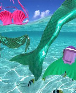 2018 Factory unique design Direct Sale Mermaid Tail Swimmable Swimsuit for girls Birthday 4 Pcs 3Y-12Y Children Swimwear Bikini 1