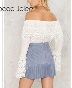 Jocoo Jolee Women Lace Sexy Off Shoulder Blouse Flare Sleeve Renda Crochet Casual Shirts Tops High Street Short Clothing 2018  1