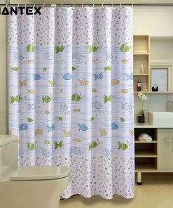GIANTEX Fish Pattern Polyester Bathroom Waterproof Shower Curtains With Plastic Hooks U1029