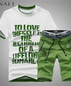 2018 Summer Men Set Mens Tracksuit T-Shirt+Shorts Pants Casual Sweatshirt Men's Sportswear Suits Summer Style Men Set Sweatshirt 1