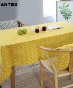 GIANTEX Yellow Chessboard Decorative Table Cloth Cotton Linen Tablecloth Dining Table Cover For Kitchen Home Decor U1100
