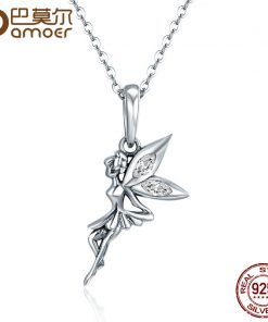 BAMOER Authentic 100% 925 Sterling Silver Flower Fairy Long Necklace Women Pendant Necklace Sterling Silver Jewelry SCC359