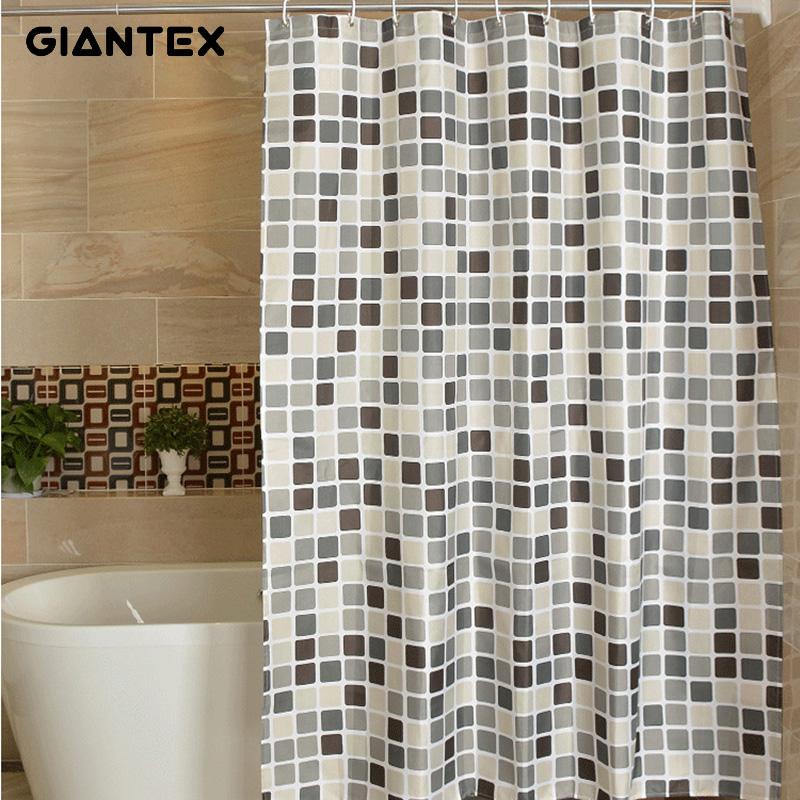 GIANTEX Plaid Polyester Bathroom Waterproof Shower Curtains With Plastic Hooks U1269