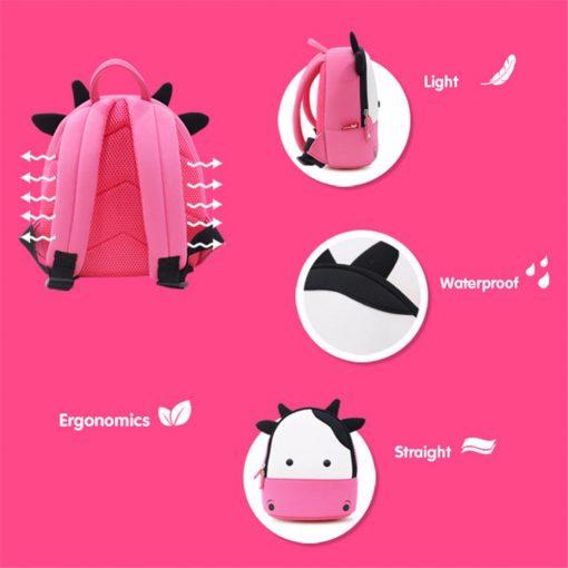 NOHOO Waterproof Kids Backpack 3D Cute Cow Cartoon Toddler Backpack  Pre School Baby Children Sidesick Bags for 2-5 Years Old 5