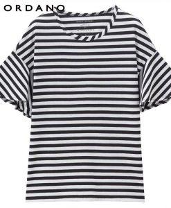 Giordano Women T Shirt Loose Style Ribbed Crewneck Ruffle Sleeves Tee Side Vent Solid Stripe Women Tshirt Camiseta Feminina 1