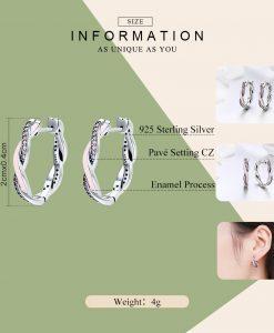 BAMOER Authentic 100% 925 Sterling Silver Pink & Clear CZ Twist Of Fate Hoop Earrings for Women Fashion Earrings Jewelry SCE297 1