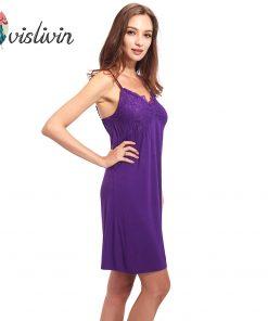 Vislivin Summer Sleeveless Sleepwear New Arrival Low Price Modal Material Spaghetti Strap V-Neck Pad Bra Homewear Dress 1