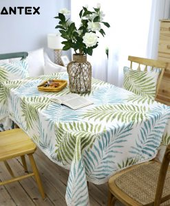 GIANTEX Pastoral Leaf Pattern Decorative Table Cloth Cotton Linen Lace Tablecloth Dining Table Cover Kitchen Home Decor U1234