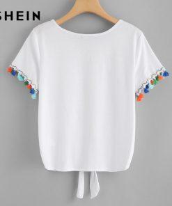 SHEIN Fringe Detail Knot Front Tee 2018 Summer Casual Women White Cute T shirt Round Neck Short Sleeve Regular Fit Tee Shirt 1