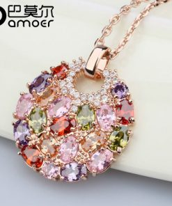 Multicolor Crystal Round Necklaces & Pendants for Women  Gold Color Swiss CZ Zircon Women Clothing Accessories JIN004 1