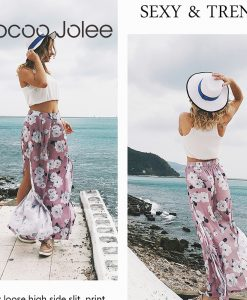 Jocoo Jolee Chiffon Floral Sprint Wide Leg Pants for Women Fashion Side Split Summer Vacation Pants Loose Style High Waist 2018 1