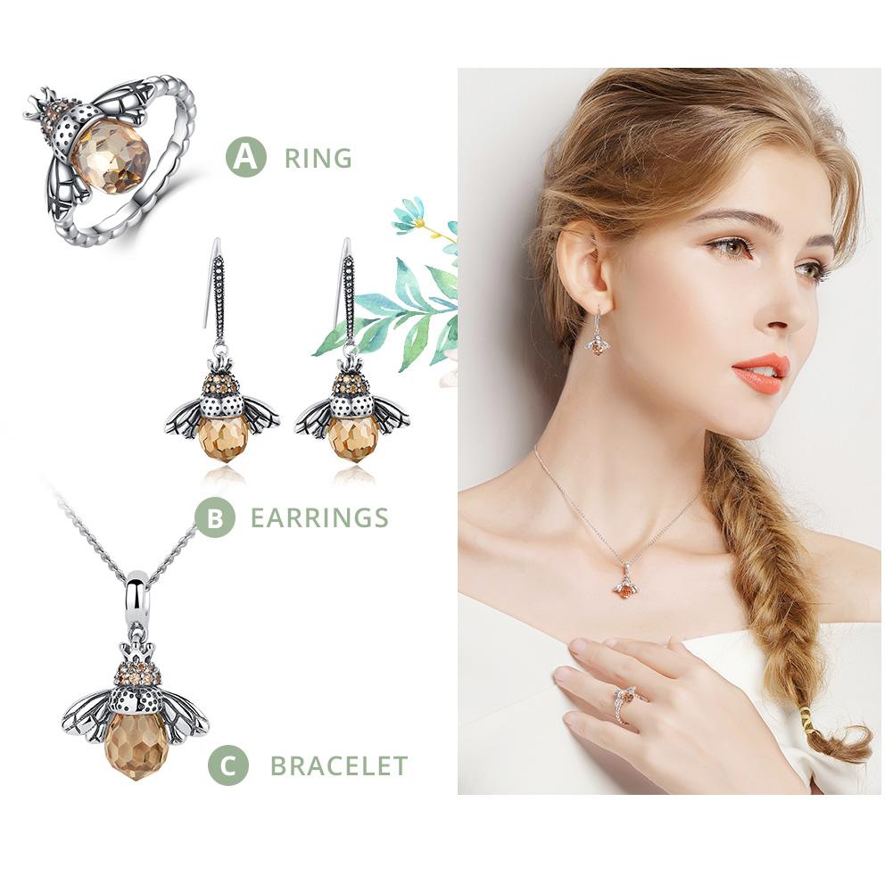 BAMOER 925 Sterling Silver Lovely Orange Bee Animal Pendants Necklace for Women Fine Jewelry CC035 1