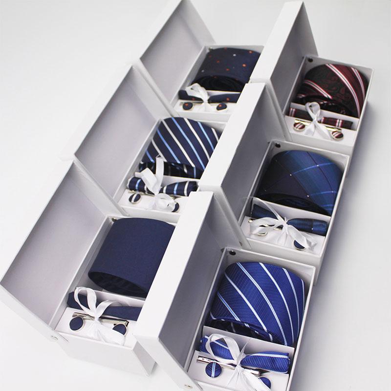 8cm Mens Ties New Man Fashion Dot Neckties Corbatas Gravata Jacquard Tie, Handkerchief, Cufflinks, Clip Set Tie For Men Gift Box