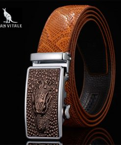 Men Belts Snake Skin Lines Luxury Famous Brand Designer High Quality Genuine Leather Straps Automatic Buckle Belt Ceinture Homme