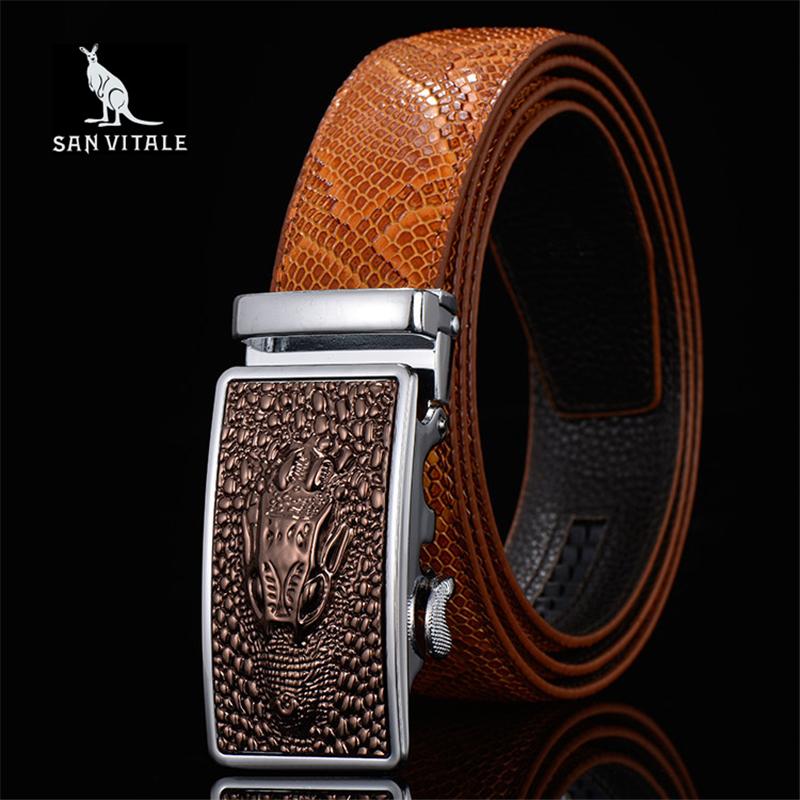 Men Belts Snake Skin Lines Luxury Famous Brand Designer High Quality Genuine Leather Straps Automatic Buckle Belt Ceinture Homme