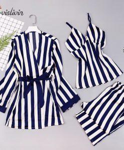Vislivin 3pcs Robe Femme Sexy Stripes Bathrobe Summer Dress Home Pajamas For Women Bridesmaid Gift Robe Nightgown Sleepwear Robe 1