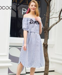 Jocoo Jolee Fashion Embroidery Long Dress Slash Neck Half Sleeve Belted Stripped Party Clothing 2018 Spring Beach Sashes Dresse