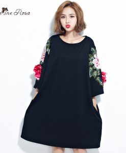 BelineRosa Plus Size Women Dresses 2017 Floral Appliques Black Cotton T Shirt Dress for Women  Fit L ~ 4XL TYW00294 1