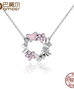 BAMOER 100% 925 Sterling Silver Pink Poetic Daisy Cherry Blossom Wreath Women Pendant Necklaces Sterling Silver Jewelry SCN098