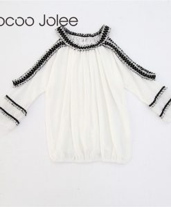 Jocoo Jolee Sexy Strapless Lace Stitching Short Sleeved Off Shoulder Chiffon Tee Shirt Basic Women Blouse 2018 Spring&Summer