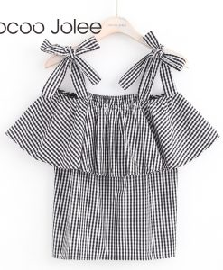 Jocoo Jolee  Bow Lace-up Camis for Women Sexy Ruffles Off-Shoulder Tops Casual Plaid Pattern Women Clothing 017 Global Shopping