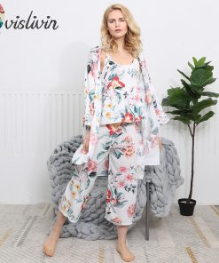 Vislivin 3pcs Suit Robe Floral Sexy Home Pajamas Women Loose Plus Size Robe Nightdress New Style Summer Sleepwear Femme Robe  1