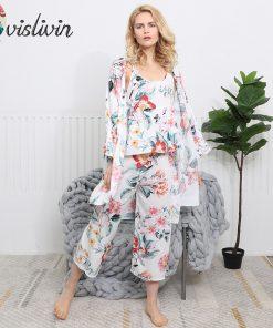 Vislivin 3pcs Suit Robe Floral Sexy Home Pajamas Women Loose Plus Size Robe Nightdress New Style Summer Sleepwear Femme Robe  1